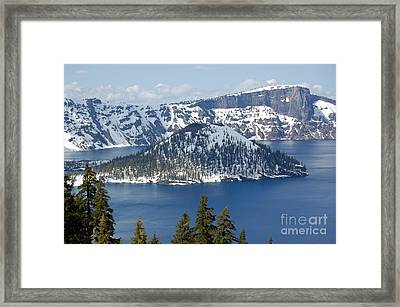 Framed Print featuring the photograph Crater Lake With Snow by Debra Thompson