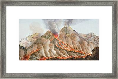 Crater Of Mount Vesuvius From An Framed Print by Pietro Fabris
