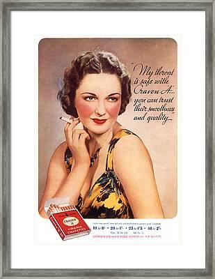 Craven A 1937 1930s Usa Womens Fashion Framed Print