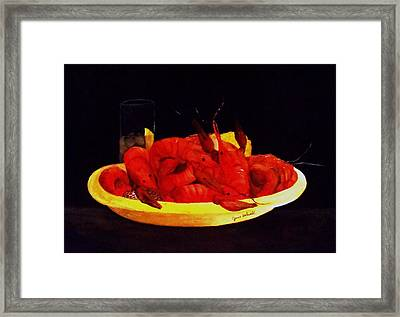 Crawfish Small Portion Framed Print by June Holwell