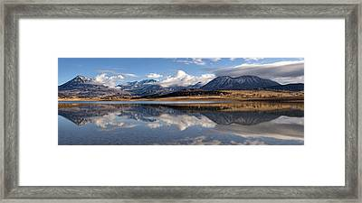 Crawford Reservoir And The West Elk Mountains Framed Print