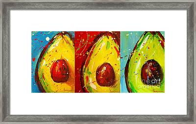 Crazy Avocados Triptych  Framed Print