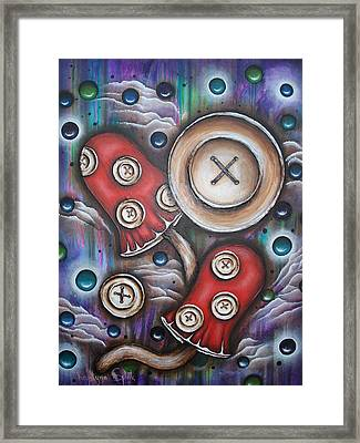 Crazy Button Mushrooms Framed Print by Krystyna Spink