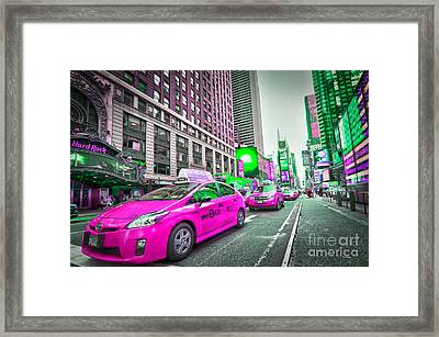 Crazy Cabs In Manhattan Framed Print by Delphimages Photo Creations