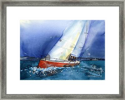 Crazy Coyote - Sailboat Framed Print by Ira Ivanova