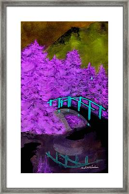 Crazy Exposure Bridge Over Frozen Water Framed Print