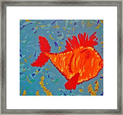 Crazy Fish Framed Print by Yshua The Painter
