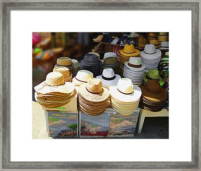 Crazy For Hats Amalfi Coast Market Italy Framed Print by Irina Sztukowski