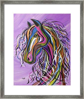 Framed Print featuring the painting Crazy Horse by Janice Rae Pariza