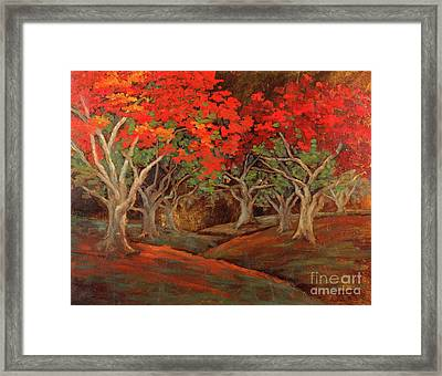 Framed Print featuring the painting Crazy Orange Trees by Vic  Mastis