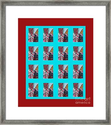 Crazy Quilt With Turquoise And Red Framed Print by Barbara Griffin