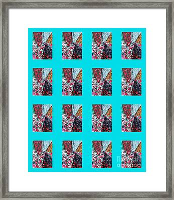 Crazy Quilt With Turquoise  Framed Print by Barbara Griffin