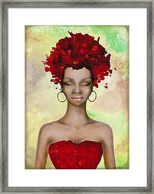 Crazy Red Hair Morning Framed Print by Lilia D