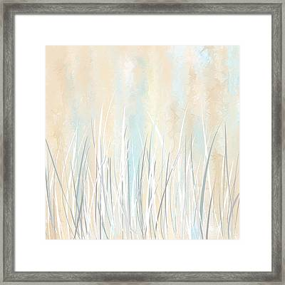 Cream And Teal Art Framed Print
