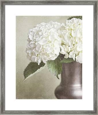 Cream Hydrangea In A Bronze Vase Still Life Framed Print