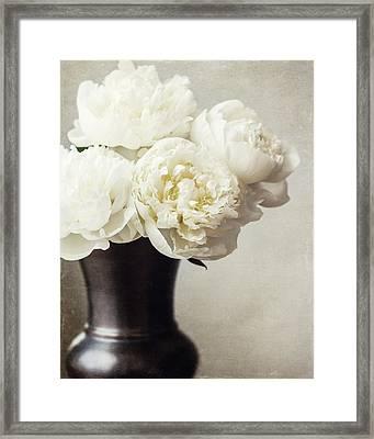 Cream Peonies In A Rustic Vase Framed Print by Lisa Russo
