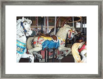Cream Pony Paragon Carousel Framed Print by Barbara McDevitt