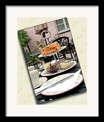Strawberries On Cake Stand Framed Prints