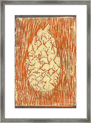 Creamy Pine Cone Framed Print by Amanda Elwell