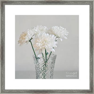 Creamy White Flowers In Tall Vase Framed Print by Lyn Randle