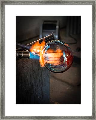 Creation At The Glass Blowers Bench Framed Print by Rob Travis