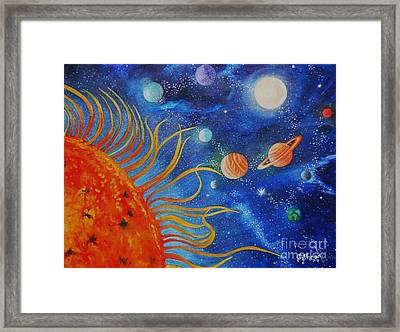 Creation Fourth Day Moon Sun Stars Planets Framed Print by Caroline Street