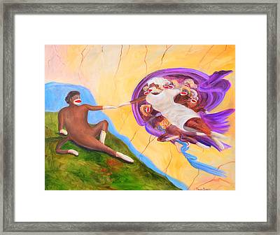Creation Of A Sock Monkey Framed Print