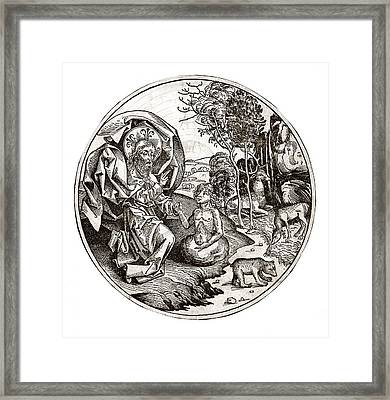 Creation Of Adam From Clay, 15th Century Framed Print by Science Photo Library