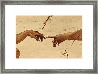 Creation Of Adam Hands A Study Coffee Painting Framed Print by Georgeta  Blanaru