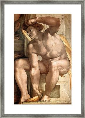 Creation Of Eve - Ignudo Detail Framed Print by Michelangelo Buonarroti