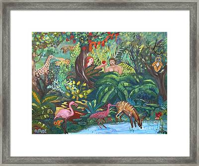 Creation Sixth Day. Earth Creatures Man Woman Framed Print
