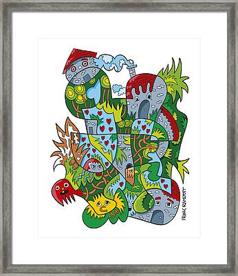 Creative Fanciful Doodle Faces Village Framed Print by Frank Ramspott