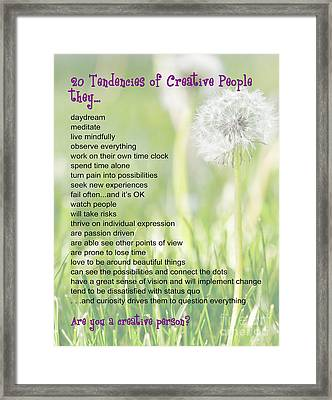 Creative People Poster Framed Print by Artist and Photographer Laura Wrede