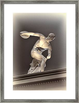 Creative Sculpture Of Olympic Athlete Framed Print by Linda Phelps