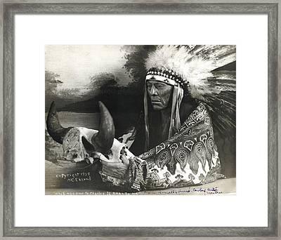 Cree Chief With Buffalo Skull Framed Print