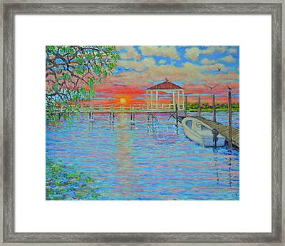 Creek Club Docks At Sunset Framed Print by Dwain Ray