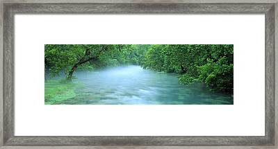 Creek Flowing Through A Forest, Ozark Framed Print by Panoramic Images