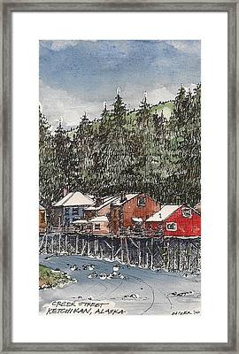 Framed Print featuring the mixed media Creek Street In Ketchikan by Tim Oliver