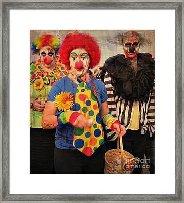 Creepy Clowns Framed Print by Lilliana Mendez