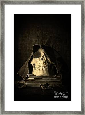 Creepy Hooded Skull Framed Print