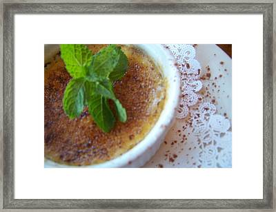 Creme Brulee With Mint Framed Print
