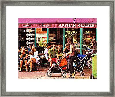 Creme Glacier Bilboquet Rue Bernard French Sidewalk Cafe Scene Montreal Art Work  Carole Spandau  Framed Print by Carole Spandau