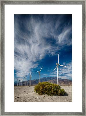 Creosote And Wind Turbines Framed Print