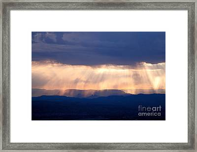 Framed Print featuring the photograph Crepuscular Light Rays Just After Sunrise On Sedona Arizona As Seen From Jerome by Ron Chilston
