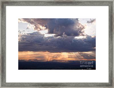 Framed Print featuring the photograph Crepuscular Light Rays Over Sedona From Jerome Arizona by Ron Chilston