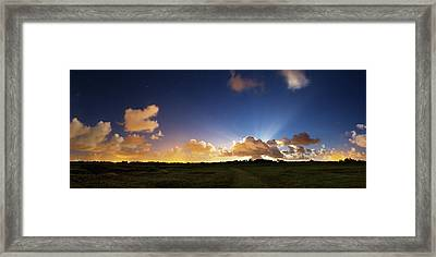 Crepuscular Rays At Moonrise Framed Print by Laurent Laveder