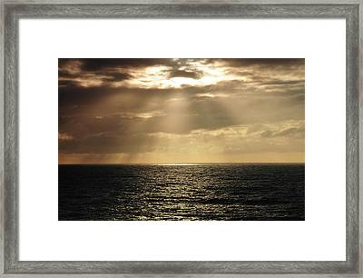 Crepuscular Rays, Depoe Bay, Oregon, Usa Framed Print