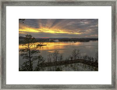 Crepuscular Rays From Cadron Overlook Framed Print