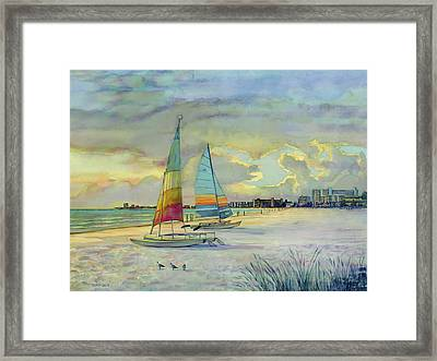 Crescent Beach Hobies At Sunset Framed Print