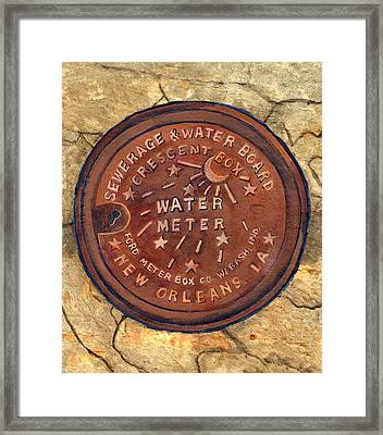 Crescent City Water Meter Framed Print by Elaine Hodges